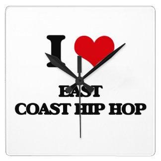 I Love EAST COAST HIP HOP Square Wallclock