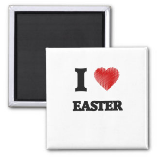 I love EASTER 2 Inch Square Magnet