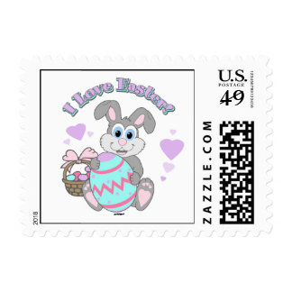 I Love Easter! Easter Bunny Postage Stamp