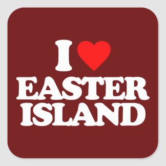 I LOVE EASTER ISLAND SQUARE STICKER