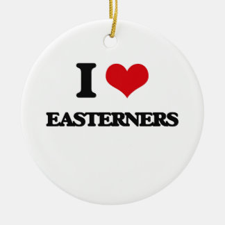 I love EASTERNERS Double-Sided Ceramic Round Christmas Ornament