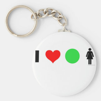 I love easy women basic round button keychain