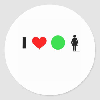 I love easy women classic round sticker