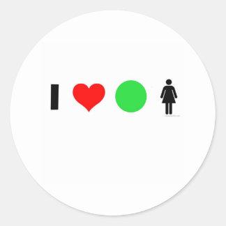 I love easy women classic round sticker