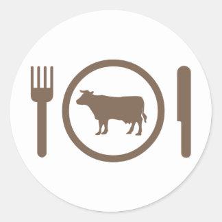 I Love Eat Cows Classic Round Sticker