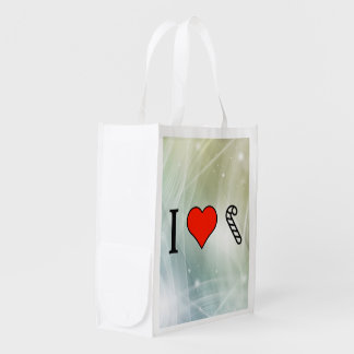 I Love Eating Candy Cane Reusable Grocery Bag