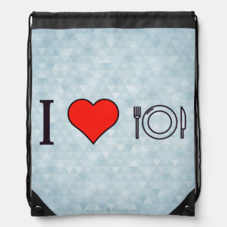 I Love Eating To My Hearts Content Drawstring Bag
