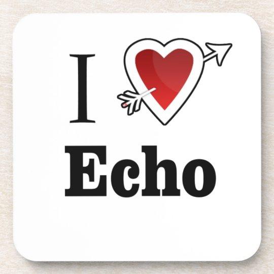 i love echo heart coaster