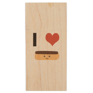 I love Eclairs Wood USB Flash Drive