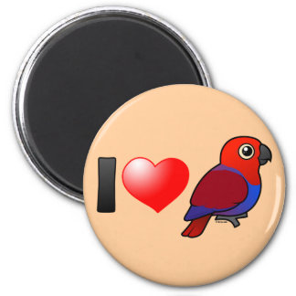 I Love Eclectus Parrots (female) 2 Inch Round Magnet