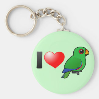 I Love Eclectus Parrots (male) Keychain