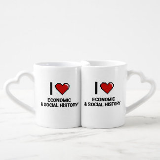 I Love Economic & Social History Digital Design Couples' Coffee Mug Set