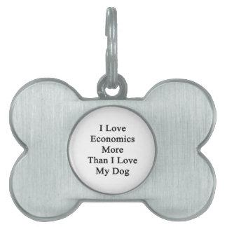 I Love Economics More Than I Love My Dog Pet Name Tag