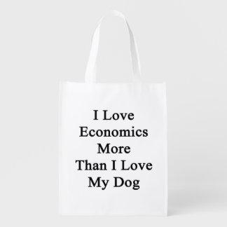 I Love Economics More Than I Love My Dog Reusable Grocery Bag