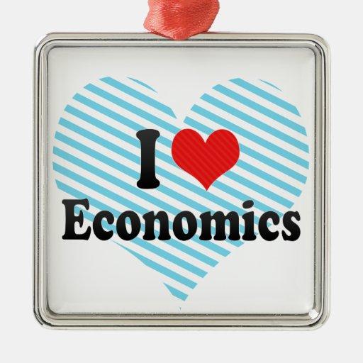 I Love Economics Square Metal Christmas Ornament