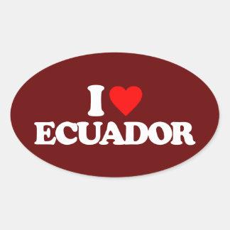 I LOVE ECUADOR OVAL STICKER