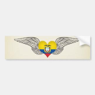 I Love Ecuador -wings Car Bumper Sticker