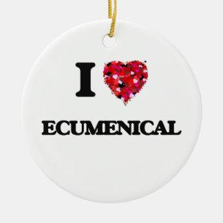 I love ECUMENICAL Double-Sided Ceramic Round Christmas Ornament
