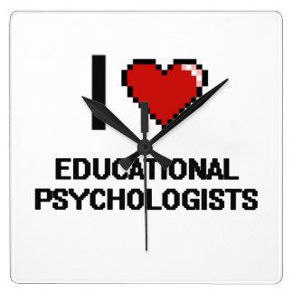 I love Educational Psychologists Square Wallclocks