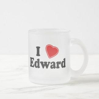 I Love Edward Frosted Glass Coffee Mug