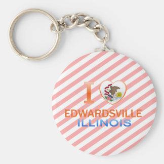 I Love Edwardsville, IL Basic Round Button Keychain