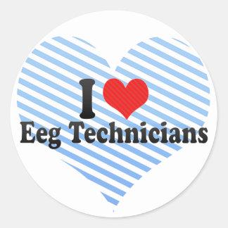 I Love Eeg Technicians Classic Round Sticker