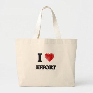 I love EFFORT Large Tote Bag