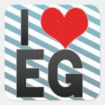 I Love EG Square Stickers