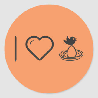 I Love Egg Incubation Classic Round Sticker