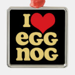 I Love Egg Nog square metal holiday ornament