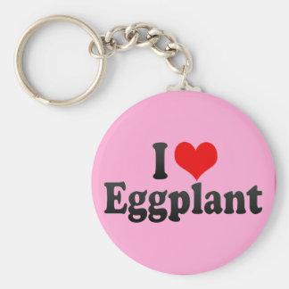 I Love Eggplant Keychain
