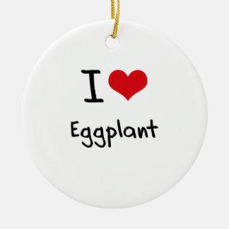 I love Eggplant Double-Sided Ceramic Round Christmas Ornament
