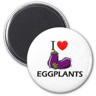 I Love Eggplants 2 Inch Round Magnet