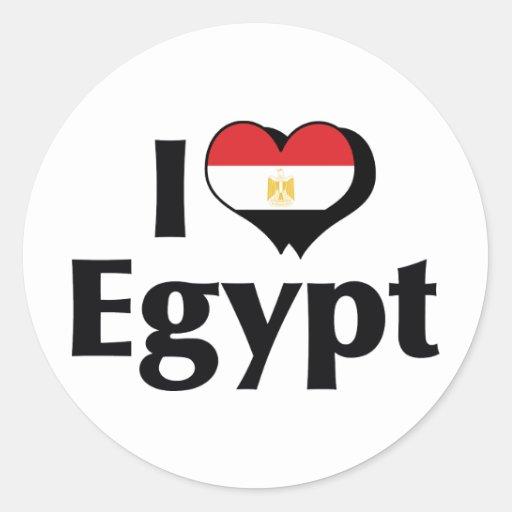I Love Egypt Flag Classic Round Sticker | Zazzle