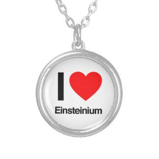 i love einsteinium round pendant necklace
