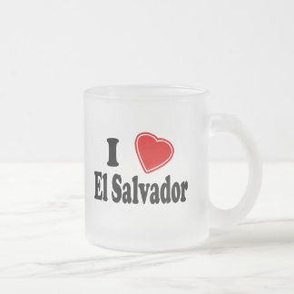I Love El Salvador 10 Oz Frosted Glass Coffee Mug