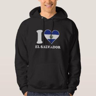 I Love El Salvador El Salvadorian Flag Heart Hoodie