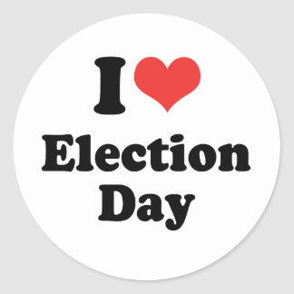 I LOVE ELECTION DAY - png Round Sticker