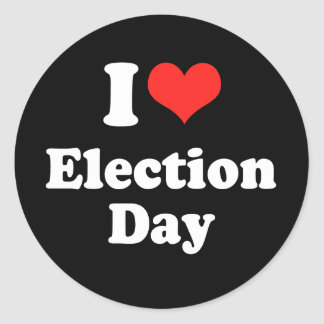 I LOVE ELECTION DAY png Round Sticker