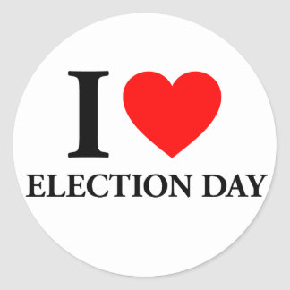I Love Election Day Round Stickers