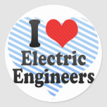 I Love Electric Engineers Round Stickers