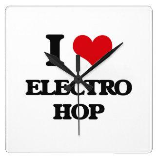 I Love ELECTRO HOP Square Wallclock