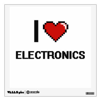 I Love Electronics Digital Retro Design Wall Decals