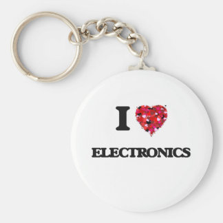 I love ELECTRONICS Basic Round Button Keychain