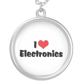 I Love Electronics Silver Plated Necklace