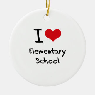I love Elementary School Double-Sided Ceramic Round Christmas Ornament