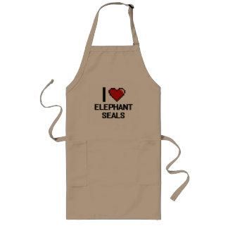 I love Elephant Seals Digital Design Long Apron