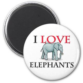 I Love Elephants 2 Inch Round Magnet