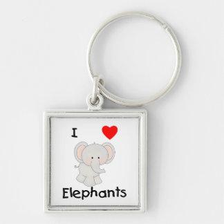 I Love Elephants (2) Keychain