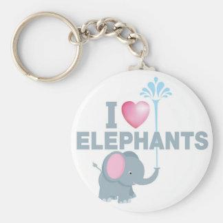 i love elephants basic round button keychain